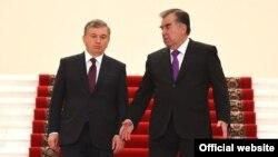 Эмомали Рахмон и Шавкат Мирзияев, Душанбе, 9 марта 2018 года