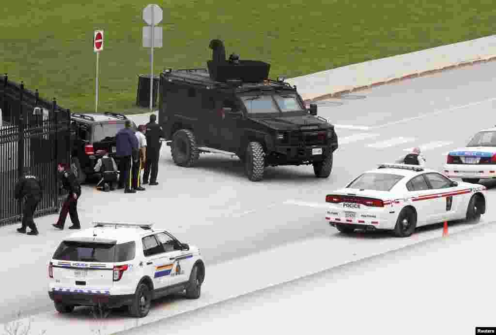 حضور نیروهای امنیتی در محوطه پارلمان کانادا در اتاوا