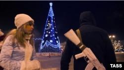 Новы год на вуліцах Данецку