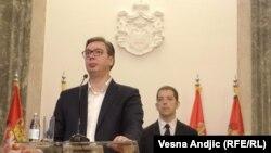 Serbian President Aleksandar Vucic (left) speaks to reporters in Belgarde as Marko Djuric, director of the Serbian government's Kosovo office, looks on in February 2019.