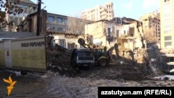 Armenia -- An old house is demolished in downtown Yerevan.