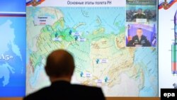 Владимир Путин смотрит прямую трансляцию пробного запуска российской ракеты-носителя «Ангара-А5»