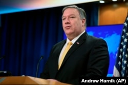 Secretarul de stat Mike Pompeo, făcând anunțul la Washington