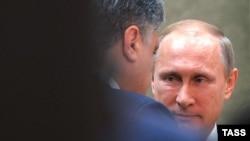 Petro Poroshenko və Vladimir Putin.