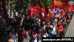 Armenia -- The Armenian Communist Party holds a May Day demonstration in Yerevan, 1May2014..