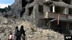 Pamje e shkatërrimeve nga lufta në Siri