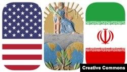 نشان دیوان بینالمللی دادگستری و پرچمهای ایران و آمریکا