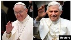 Fotografi arkivi e ish Papa Benediktit (në të djathtë) dhe udhëheqësit aktual të Vatikanit, Papa Françesku