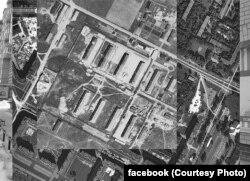 """Территория """"Шталага 372"""", аэрофотосъемка, наложенная на современную планировку"""