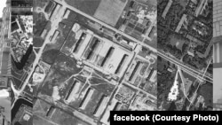 """An aerial photograph of """"Stalag 372"""" superimposed on a modern layout."""
