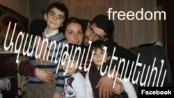 Armenia - Nerses Poghosian is pictured with his wife and children.