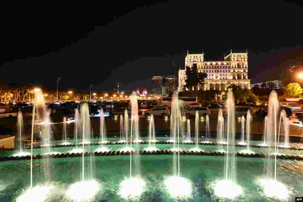 Fountains outside Baku's Government House