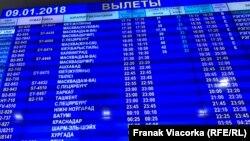Беларуская мова на табло ў аэрапорце «Менск»