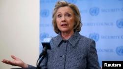 Бывший государственный секретарь США Хиллари Клинтон выступает в ООН. Нью-Йорк, 10 марта 2015 года.
