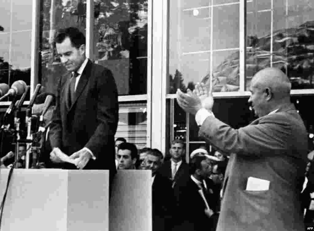 U.S. Vice President Richard Nixon speaks at the American National Exhibition in Moscow in 1959, an event that gave many Russians their first glimpse of capitalist life. At the exhibition, Nixon and Khrushchev launched an impromptu discussion about their countries' economic systems which became known as the Kitchen Debate.