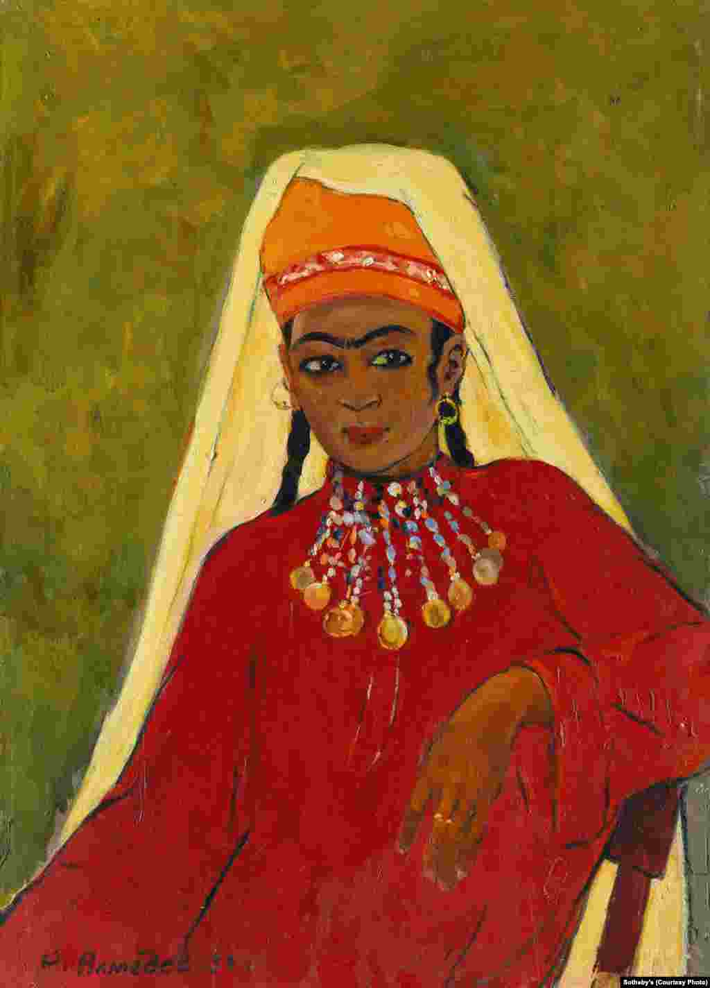 """""""Girl From Surkhandarya,"""" a 1959 painting by Uzbek artist Rakhim Akhmedov (1921-2008). The work was part of a series of portraits created by Akhmedov while he was studying decorative arts in southern Uzbekistan."""