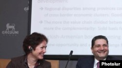 Armenia -- Prime Minister Tigran Sarkisian and U.S. Ambassador Marie Yovanovitch attend a panel discussion in Yerevan on February 12, 2010.