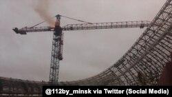 Пажар на стадыёне Дынама ў Менску