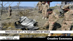 Screen grab of an Indian news report claiming evidence of an F-16 being shot down.