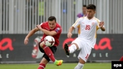 Pamje nga ndeshja Shqipëria - Maqedonia e zhvilluar në Shkodër
