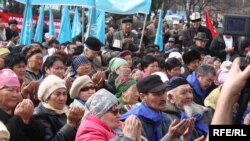 Some 250 opposition supporters gathered in Bishkek on March 15 to protest the crackdown on U.S.-funded media.