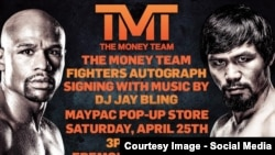 Poster boxing match between Floyd Mayweather and Manny Pacquiao. Picture from the official page on Facebook Floyd Mayweather.