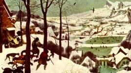 """Pieter Bruegel cel Bătrân """"Vânători în zăpadă"""" (anul 1565)"""