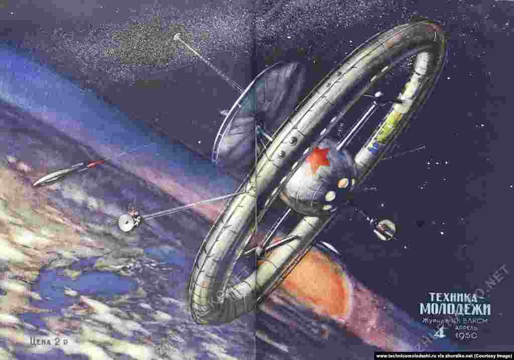 An orbiting space station illustrated on a 1950 cover, 48 years before the launch of the International Space Station (ISS).