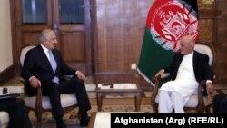 FILE: Afghan President Ashraf Ghani meeting Zalmay Khalilzad, U.S. special representative for Afghanistan reconciliation in Kabul.