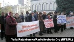 Un protest împotriva expropierilor în Ucraina