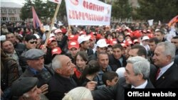 Armenia -- President Serzh Sarkisian talks to the people in one of the villages of Aragatsotn during ruling Republican's election campaign, 20Apr2011