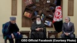 عبدالله عبدالله،رئیس اجرائیه حکومت وحدت ملی، عبدرب الرسول سیاف رهبر جهادی، حامد کرزی رئیس جمهور پیشن افغانستان