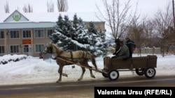 A horse-drawn coach travels past a polling station in the town of Comrat, in the Moldovan autonomous region of Gagauzia on February 2.