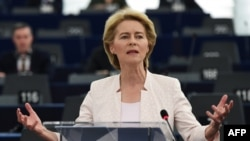 Ursula von der Leyen delivers a speech during her statement for her candidacy at the European Parliament in Strasbourg, France, on July 16.