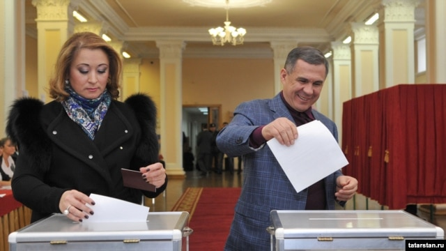 Tatarstan's Moscow-appointed President Rustam Minnikhanov (right) has three years left on his current term, but an election will be held to choose his successor.