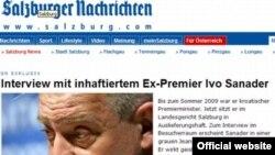 Snimak internet stranice Salzburger Nachrichtena na kojoj je intervju sa Ivom Sanaderom, 22. januar 2011.