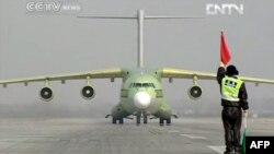 China - A TV grab shows new jumbo air frieghter, the Y-20