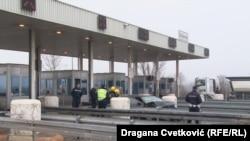 Policija na mestu nesreće, naplatna rampa Doljevac, 31. januar 2019.