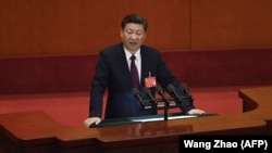 Президент Китая Си Цзиньпин на съезде Коммунистической партии. Пекин, 18 октября 2017 года