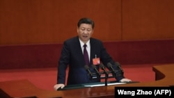 Президент Китая Си Цзиньпин на съезде Коммунистической партии. Пекин, 18 октября 2017 года.