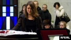 The funeral service for murdered journalist Anastasia Baburova.
