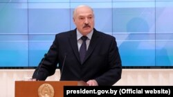 Belarusian President Alyaksandr Lukashenka speaks at a meeting with businesspeople in Minsk on December 22.