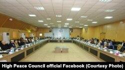 آرشیف، اعضای شورای عالی صلح حین جلسه در کابل