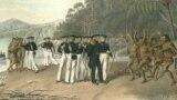 Военные пляски Южной Новой Зеландии в заливе Королевы Шарлотты. 30 мая 1820 года. Рисунок из альбома Павла Михайлова