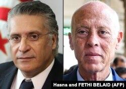 قیس سعید (راست) و نبیل قروی، دو نامزدی که بیشتری آرا را در مرحله نخست انتخابات از آن خود کردهاند