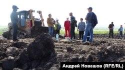 Протестующие у посёлка Черемза в Кемеровской области