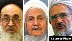 از راست: آیت الله بیات زنجانی، یوسف صانعی و علی محمد دستغیب