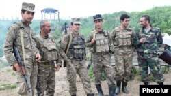 Nagorno-Karabakh - Armenian soldiers and volunteers are pictured on their positions in northeastern Karabakh, 7May2016.
