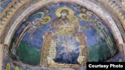 Црквата Свети Ѓорѓи во Курбиново, Богородица во апсидата со Исус Христос