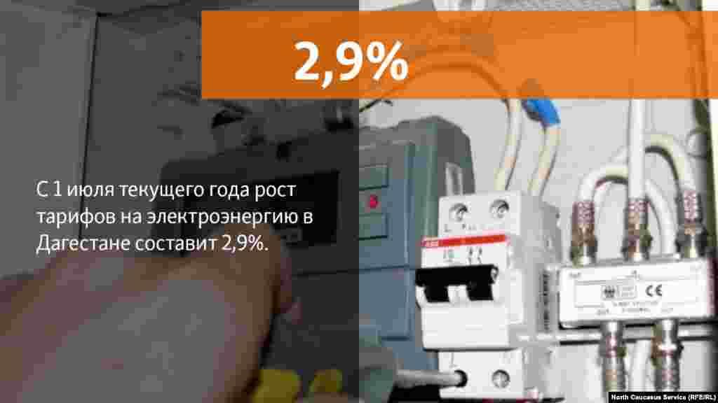 11.06.2018 //Рост тарифов на электроэнергию, поставляемую населению, во втором полугодии текущего года по отношению к декабрю 2017 года составит 2,9%. В целом же рост тарифов на коммунальные услуги в Дагестане в 2018 году составит 3%.